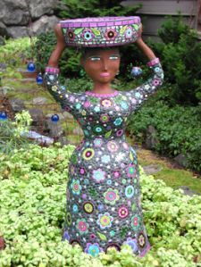 Mosaic lady in the garden