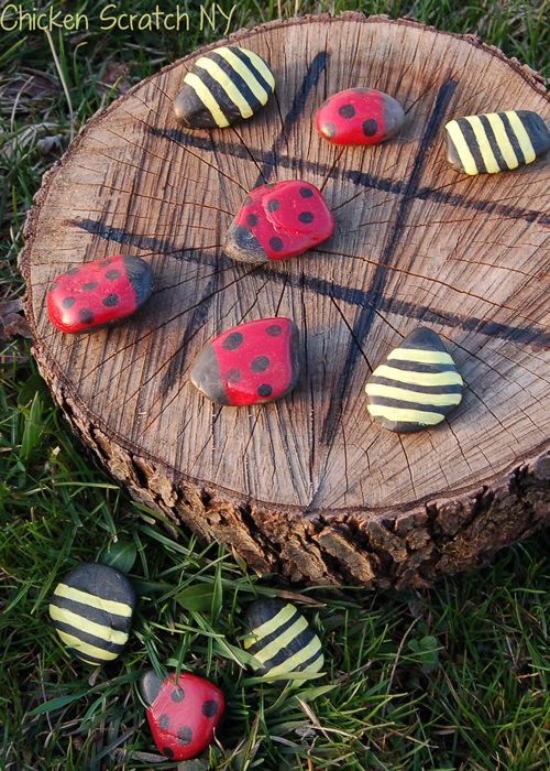 Painted Rock Tic-Tac-Toe makes a fun game for your garden (@ Chicken Scratch NY)