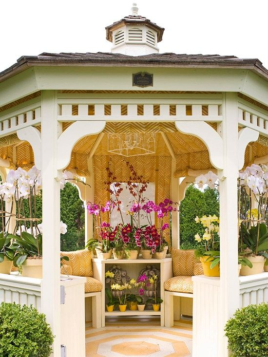 Victorian style patio decorated with flowers
