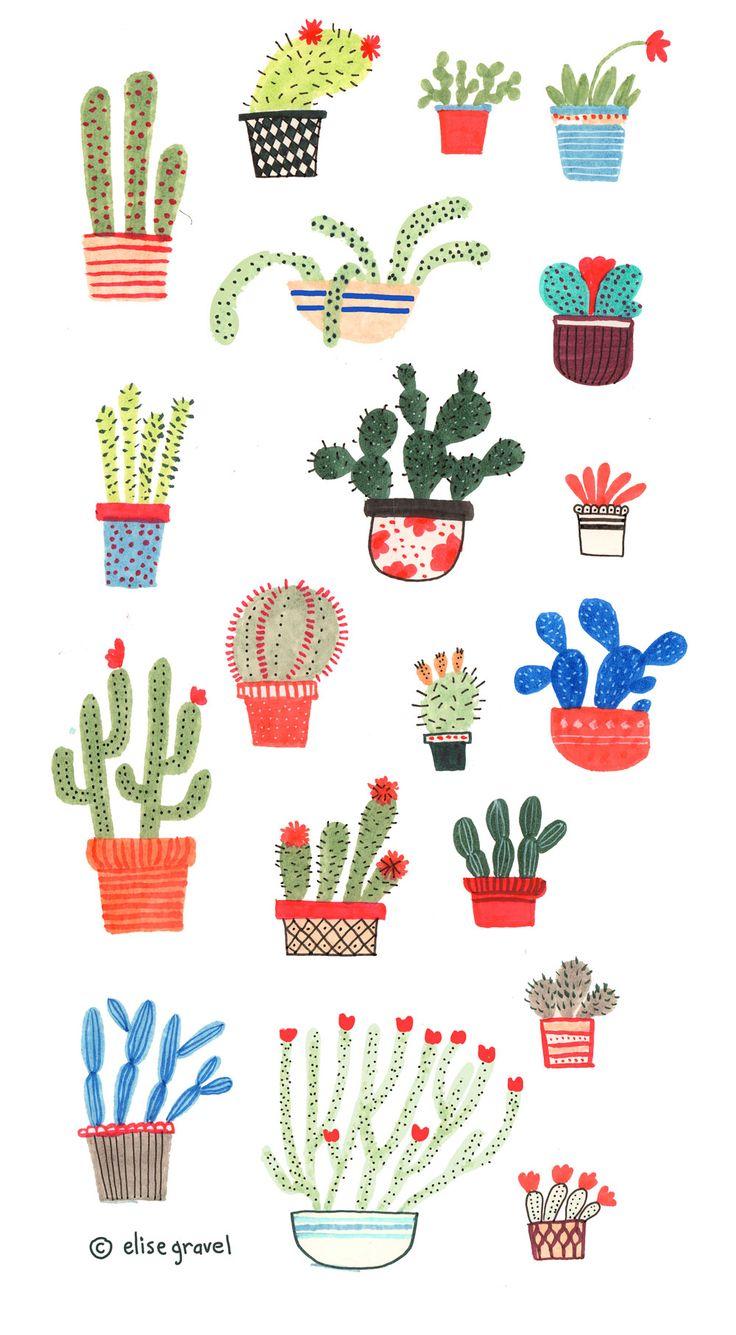 Elise Gravel illustration • cactus • plants • desert • hot • art • p...