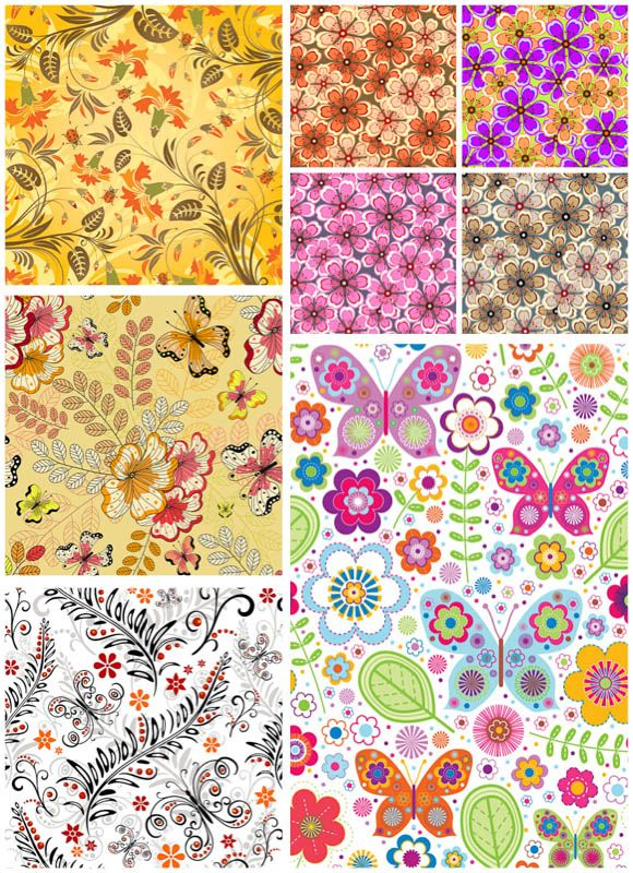FREE Set of vector spring flower backgrounds and floral patterns with different ...