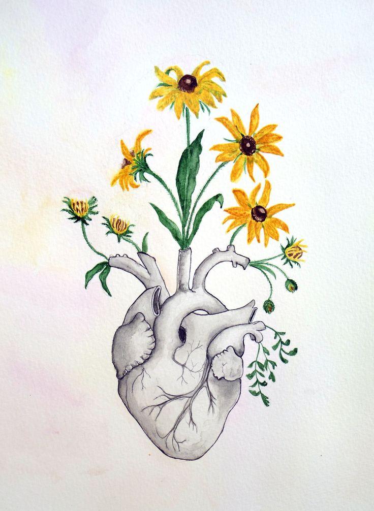 Heart, anatomy of heart, watercolor painting, flowers, skeleton, anatomy, anatom...