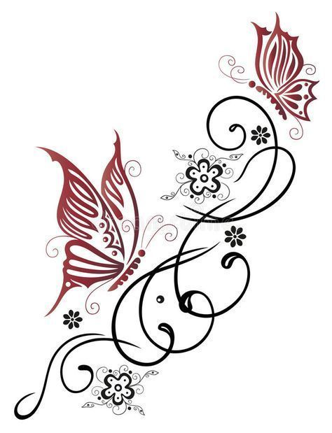 Photo about Feminine, filigree tribal with flowers and butterfly. Illustration o...