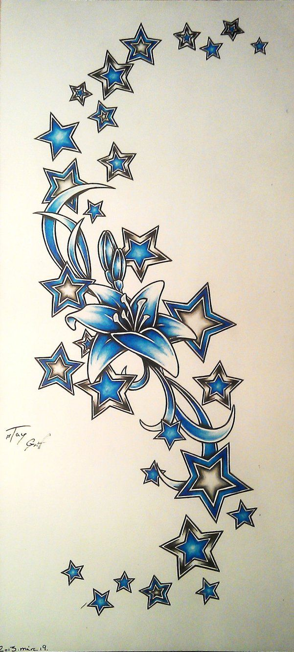 Flowers And Stars Tattoos Designs