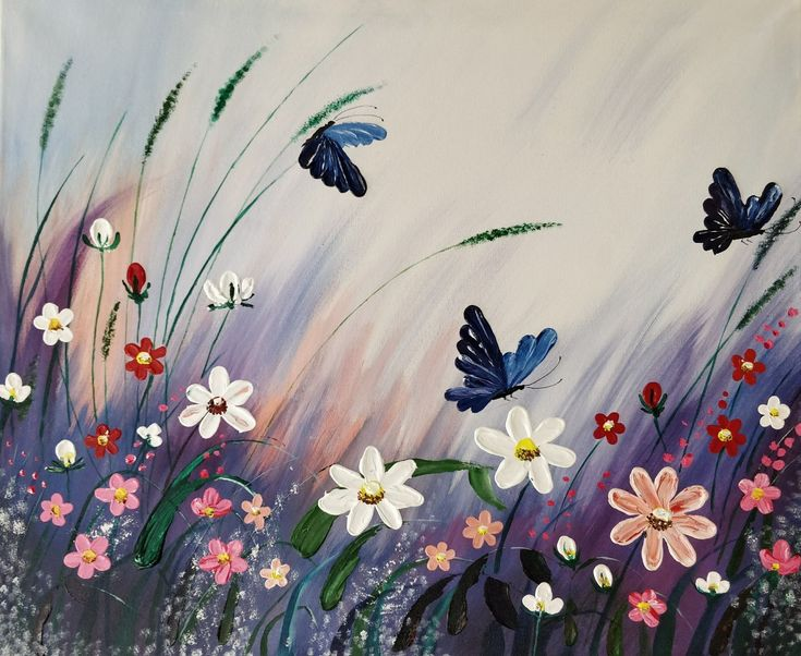 The beautiful garden and butterflies acrylic painting