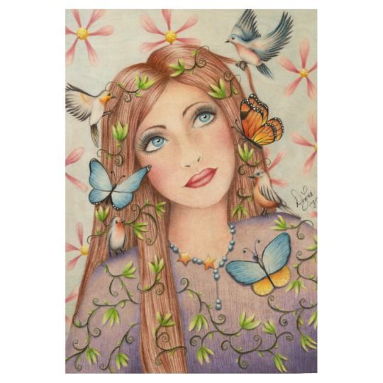 Woman With Birds and Butterflies Wood Poster