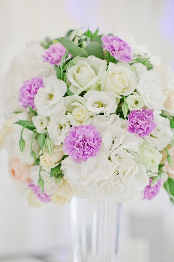 Weddings Flower Arrangements Tall Purple And White Centerpiece
