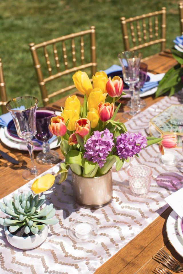 bright tulip centerpiece
