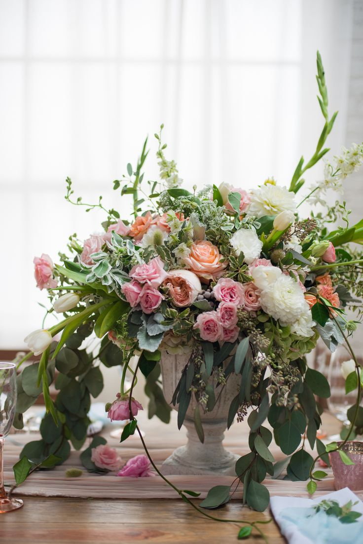 organic wild pink and peach floral centerpiece