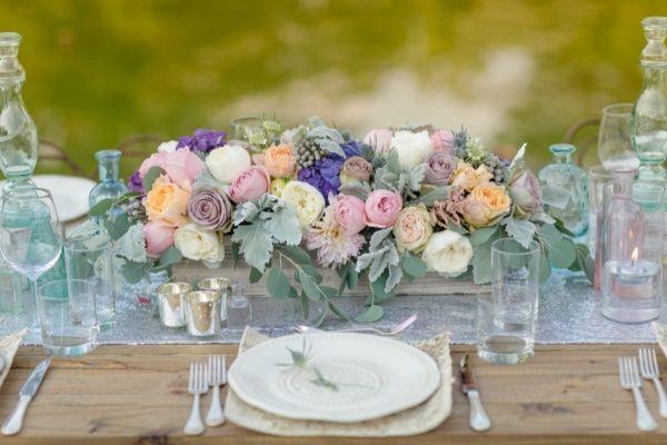 pastel wedding floral centerpiece