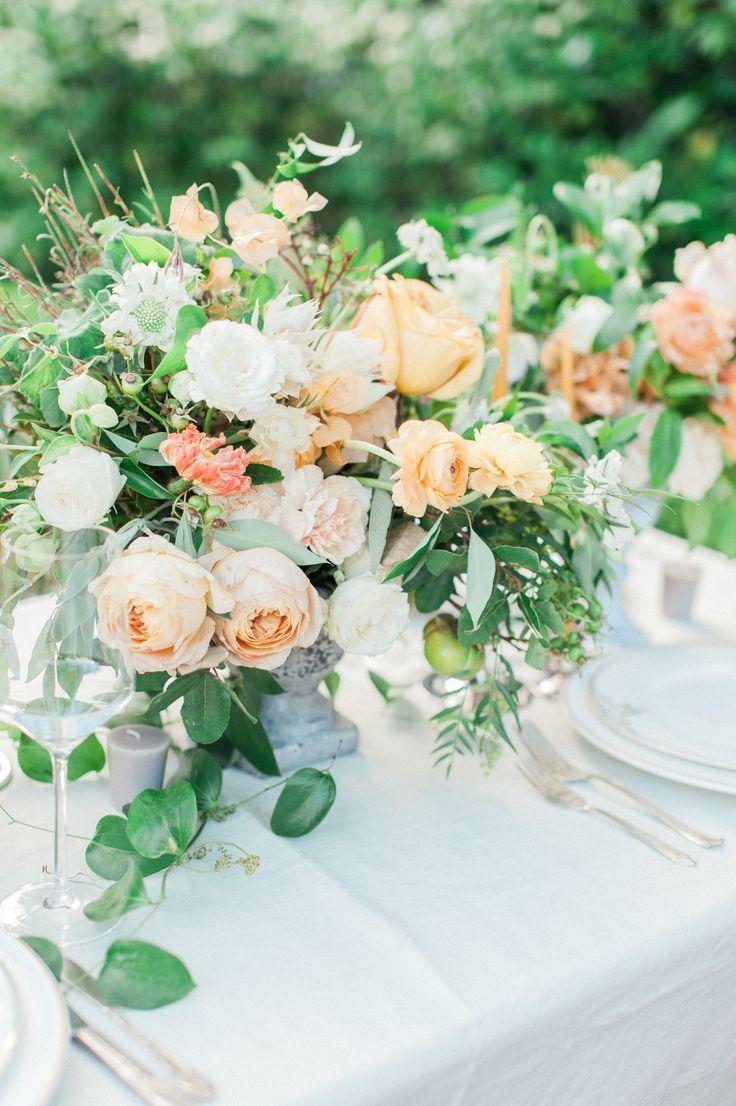 Weddings Flower Arrangements Peach And White Garden Wedding