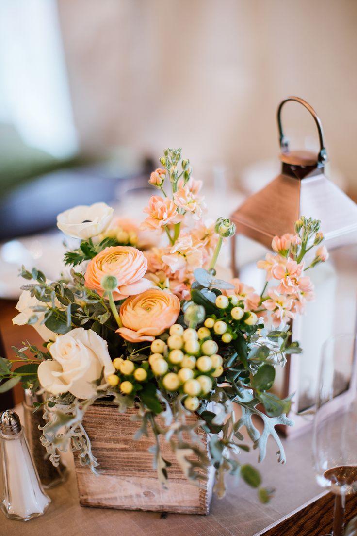 peach wedding flowers in a cute rustic flower box