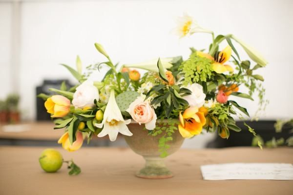 pink and yellow wedding centerpiece
