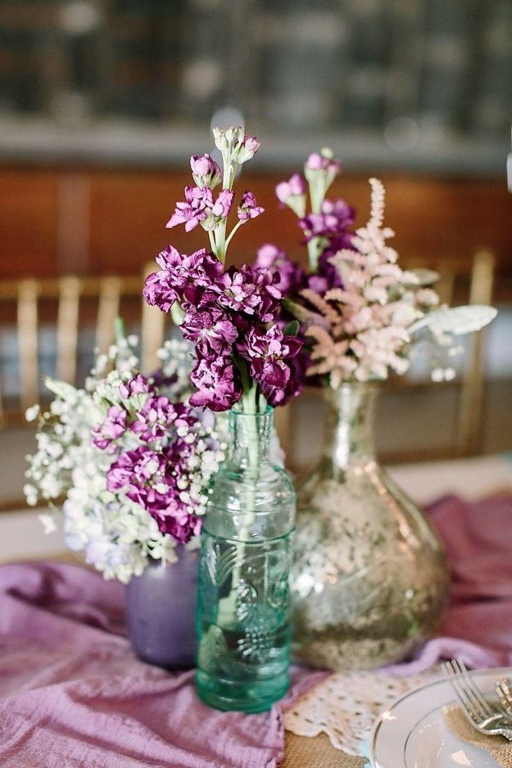 simple boho chic purple centerpiece idea