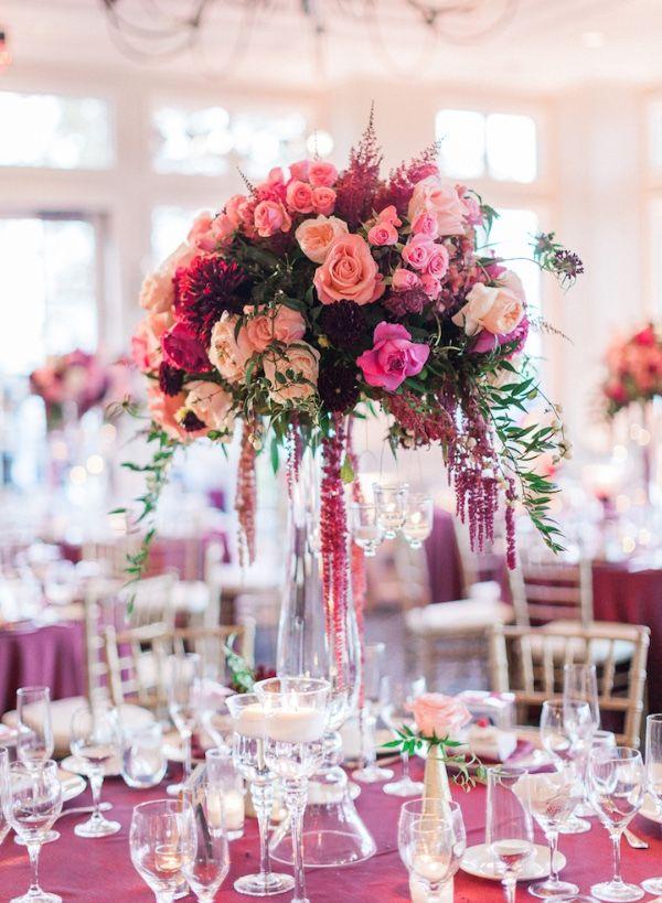 tall pink wedding centerpiece