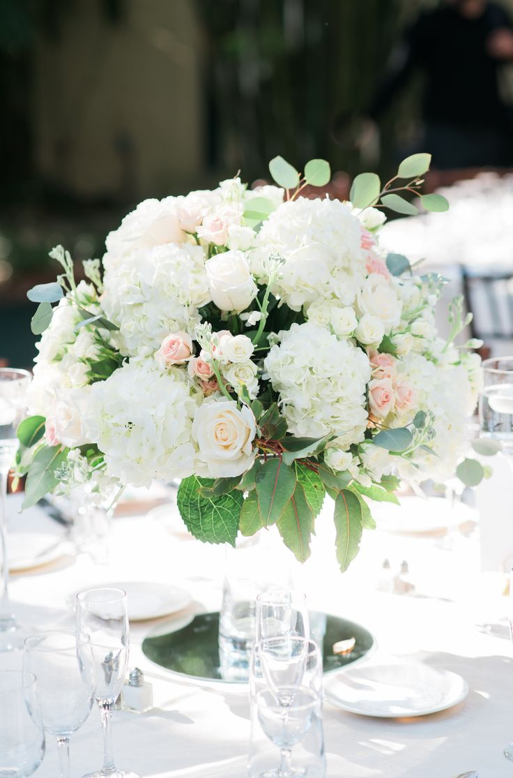 white and pink rose and hydrangea wedding centerpiece