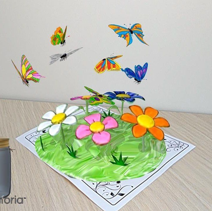 New app AR Butterflies and Flowers. Multicolored butterflies are fluttering over...