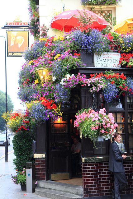 Entrance to Churchill Arms in London.