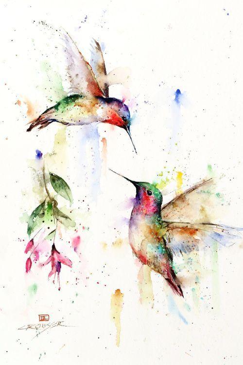 Dean Crouser Watercolor Art featuring Hummingbird, Nature, Flower, and Bird prin...