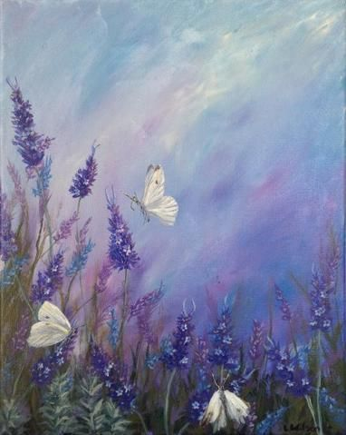 Lavender in summer acrylic painting of flowers and white butterflies by Goldstar...