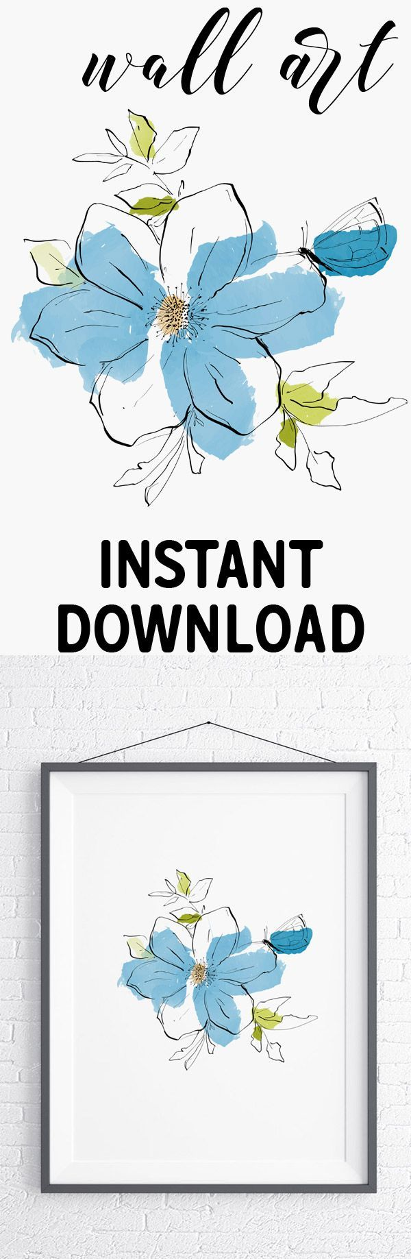 Printable botanical decor, butterfly art. Minimalist drawing of a butterfly and ...
