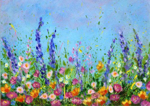 Flowers Drawings Inspiration Splattered Paint Flower Garden