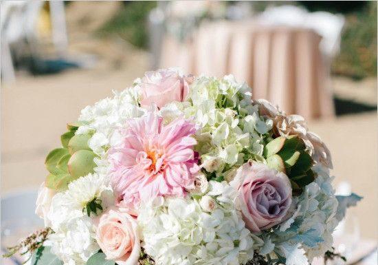 Weddings Flower Arrangements : beach themed reception table decor ideas featuring seashells and starfish #beach…