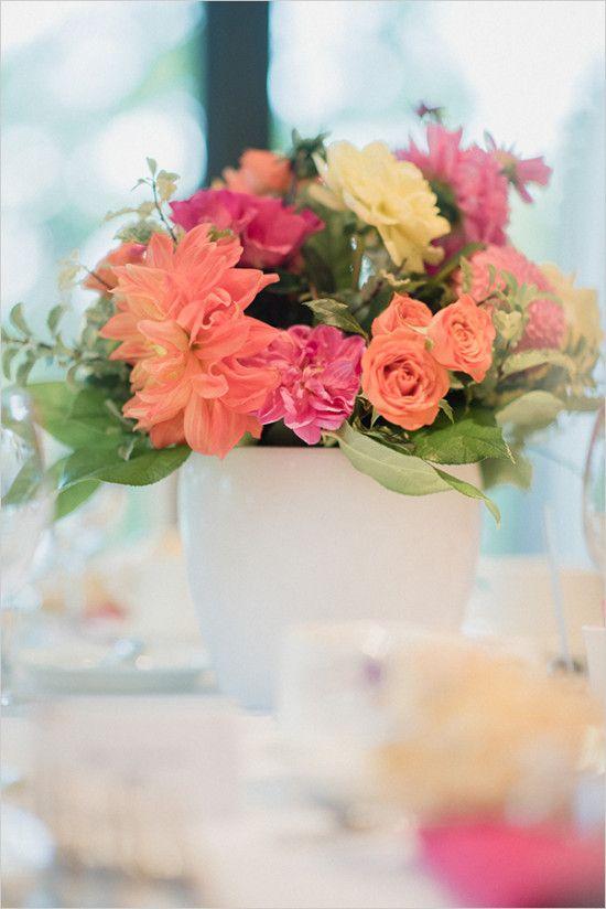 #centerpiece #orangeandpink #bright wedding chicks