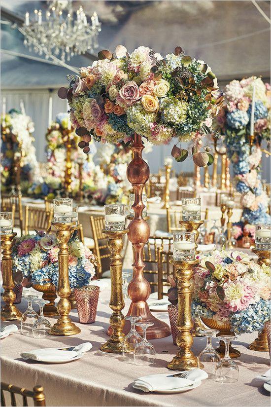 metallic and floral glam wedding reception centerpiece idea