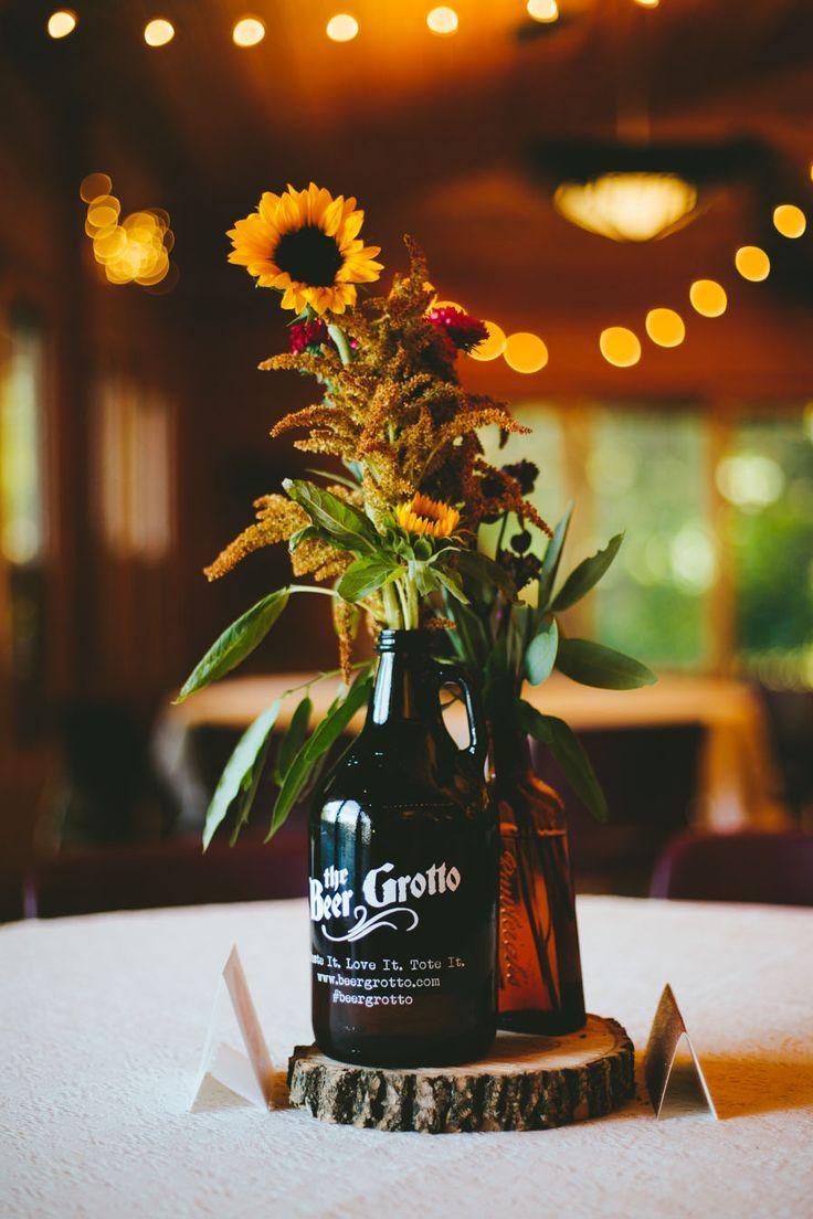 #sunflower centerpiece wedding chicks
