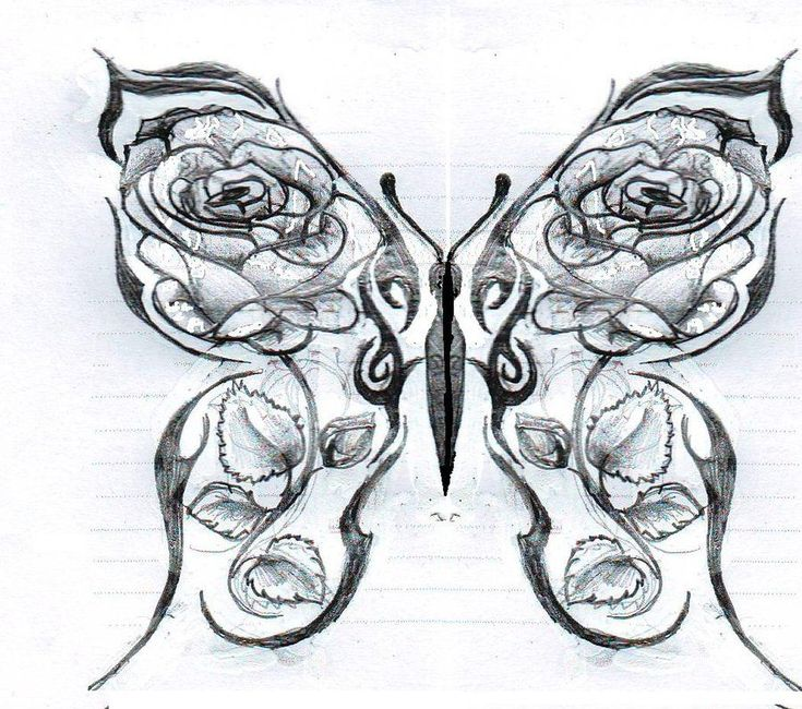Drawings Of Roses And Hearts | Butterfly with roses by ~Kittyyy1989 on deviantAR...