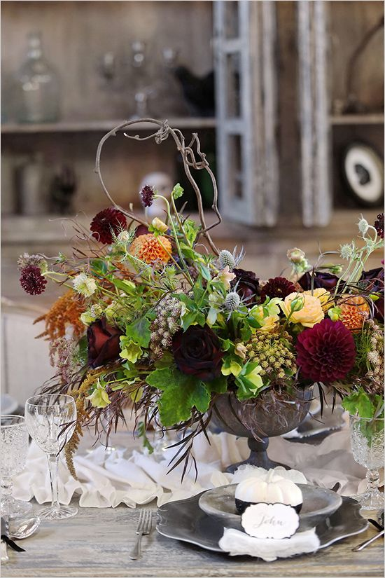 Dramatic fall floral arrangement.
