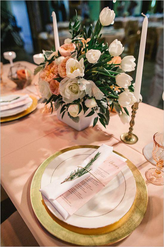 Gray and peach Boise, Idaho wedding. Captured By: Yes, Dear. Studio #weddingchic...