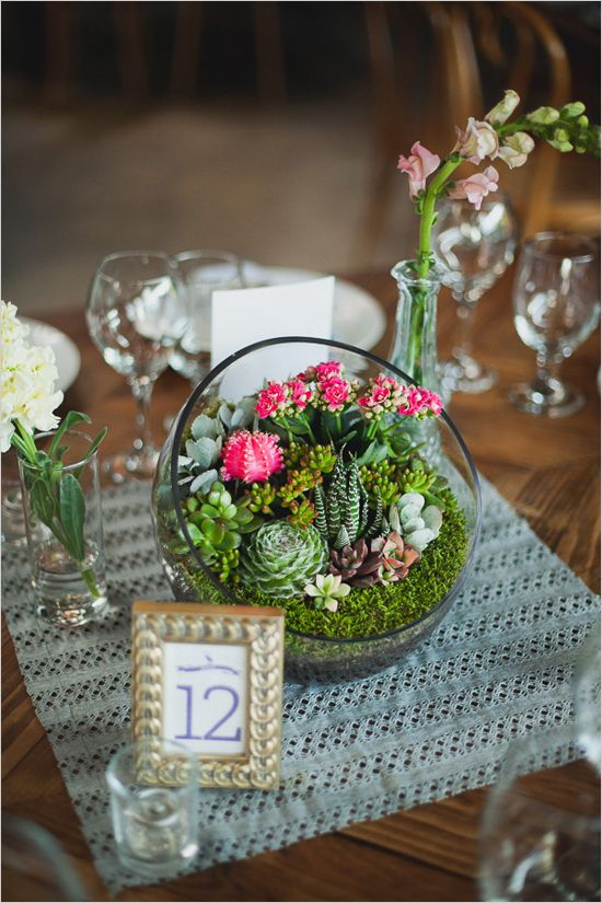Weddings Flower Arrangements Table Number And Mini Succulent And