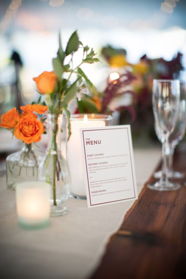 modern styled wedding menu