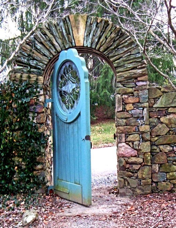 beautiful stone garden gate