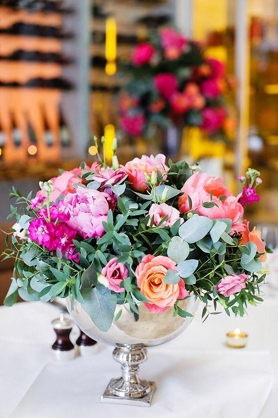 pink and peach wedding flower centerpiece, see more cute ideas at www.weddingchi...