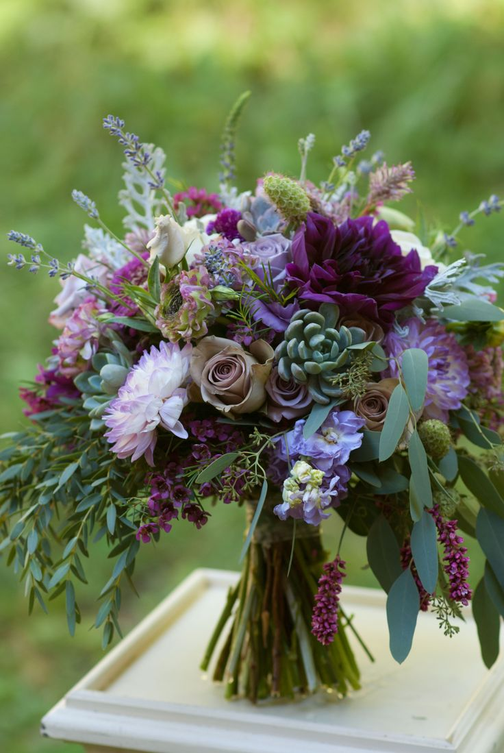 Flowers Drawings Inspiration Plum And Lavender Bridal Bouquet Featuring Dahlias Roses Succulents And Lots Flowers Tn Leading Flowers Magazine Daily Beautiful Flowers For All Occasions