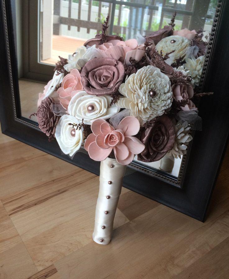 Rose gold bouquet, Rose gold and blush bouquet, Sola bouquet, Romantic bouquet, ...
