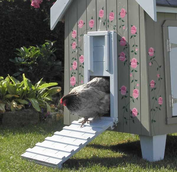 The Fantasia Rose Painted Hen House is decorated with hand-painted roses, making...