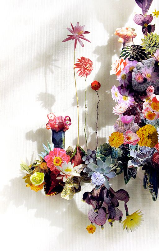 Flower constructions by Anne Ten Donkelaar - Flower constructions are 3d collage...