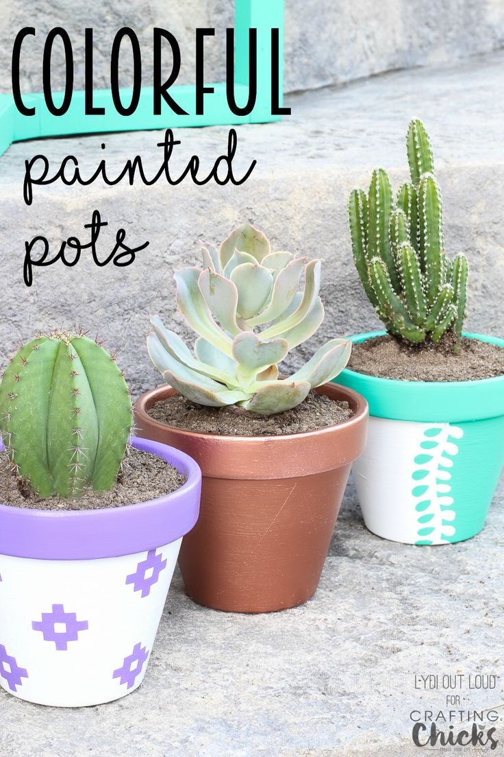 Colorful Painted Clay Pots for Summer Planting