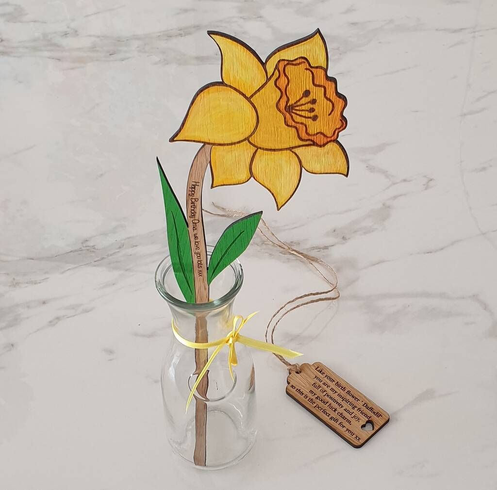 Large Daffodil Birth Flower March Handpainted With Vase
