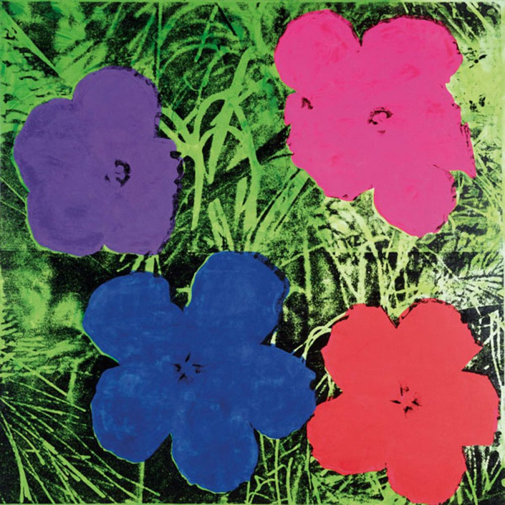 Flowers, c.1964 (1 purple, 1 blue, 1 pink, 1 red) by Andy Warhol - art print from King & McGaw