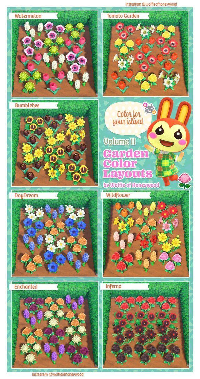 Best ACNH Garden Design Ideas & Tips - Animal Crossing New Horizons Garden Flower Color Layouts