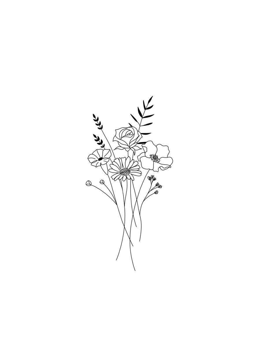 Simple minimalist dainty floral custom tattoo design of family birth month flowers