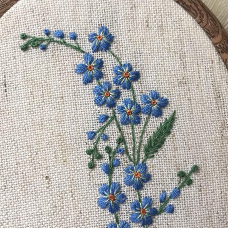 Blue forget me not flowers embroidery hoop art, Floral wall art, Hand embroidered botanical gift for her, Delicate hand stitched wild flower