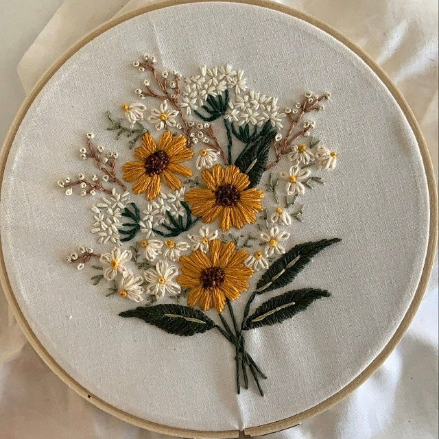 Summer Wildflowers Embroidery Pattern. Beginner Embroidery. PDF embroidery pattern. 6