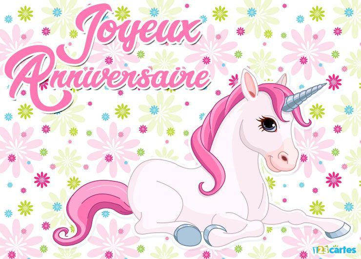 La licorne à crinière rose - Carte anniversaire licorne | 123cartes