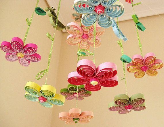Baby Mobile - Crib Mobile - Baby Nursery Mobile - Flower Mobile - Quilling Mobile - Baby Girl Mobiles - Birds in Rainbow Garden 8A